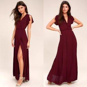 Heart of Marigold Burgundy Wrap Maxi Dress LuLus